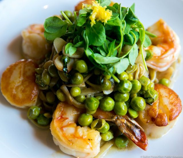 From Isabella: Sautéed Shrimp & Scallop - basil, lemon, fresh garlic, butter, fresh peas, wild mushrooms and house made chestnut linguini