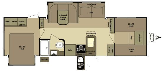 Open Range Roamer >> Open Range Roamer RT296BHS travel trailer floor plan - turn bunk room into sewing & storage area ...