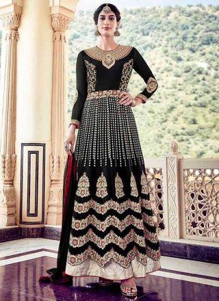 Black Heavy Sequins Work Stone Work Georgette Designer Anarkali Salwar Kameez http://www.angelnx.com/Salwar-Kameez/Anarkali-Suits