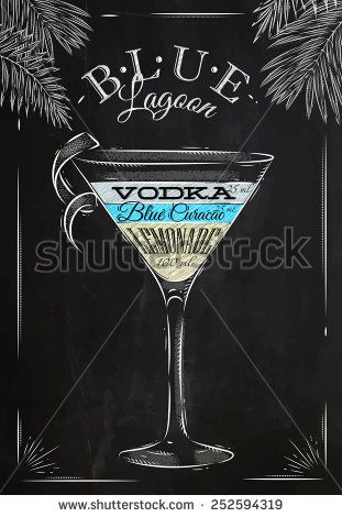 Blue lagoon cocktail in vintage style stylized drawing with chalk on blackboard