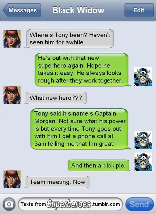 Texts from Avengers. Steve thinks there's a new hero.