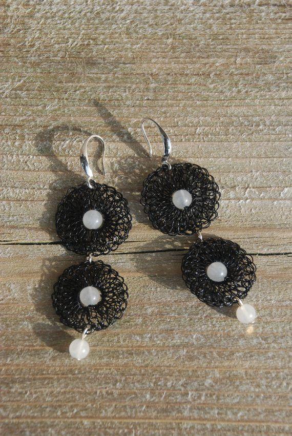black wire crochet earrings with jade by Sierelantijn on Etsy