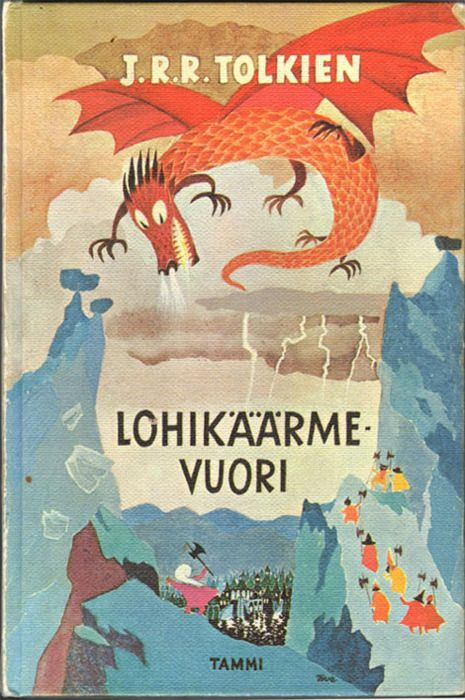 "Finnish cover image for The Hobbit; art by Tove Jansson (Lohikäärme Vuori means ""Dragon Mountain"".)"