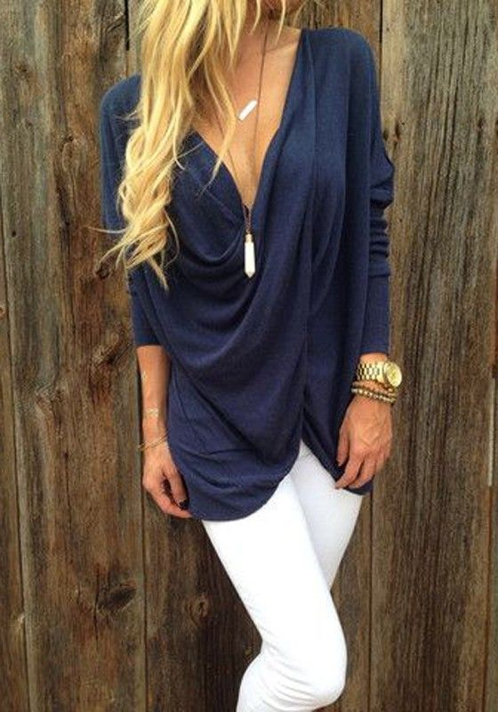 Blue Plain Ruffle Twisted V-neck Long Sleeve Slim Fashion Casual Pullover