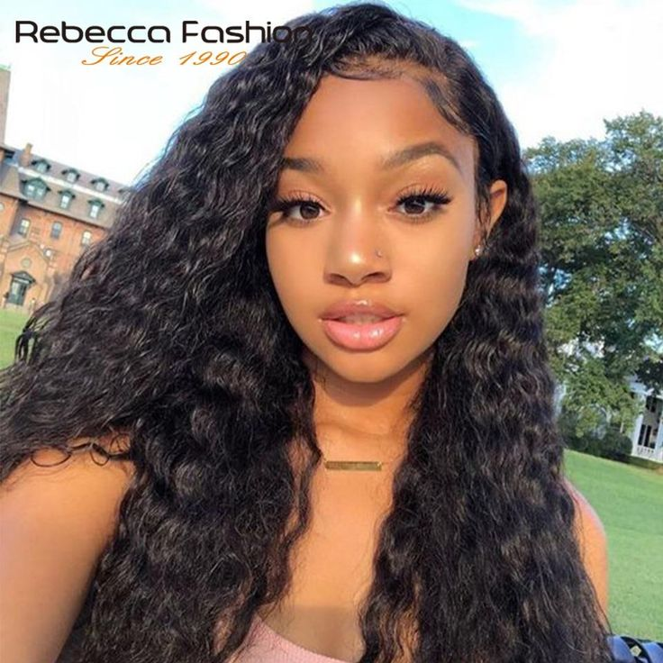 Rebecca Brazilian Deep Wave Lace Front Human Hair Wigs For Women Natural Color Remy Hair Lace Frontal Wig 10-24 Inch