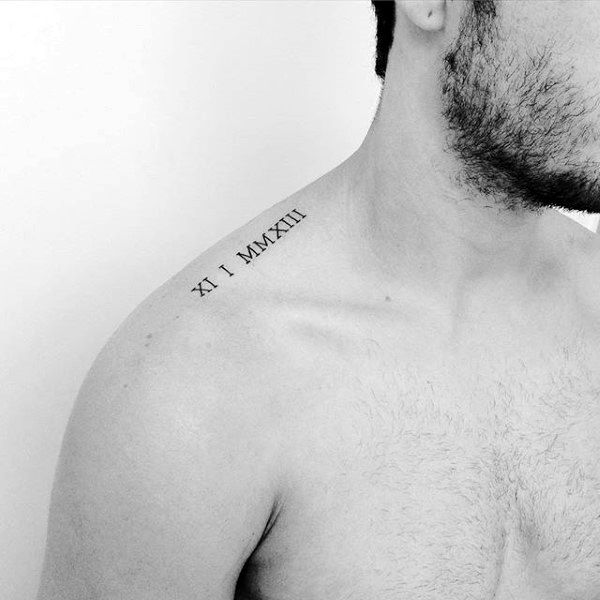 Ruman Numerals Collar Bone Male Tattoos