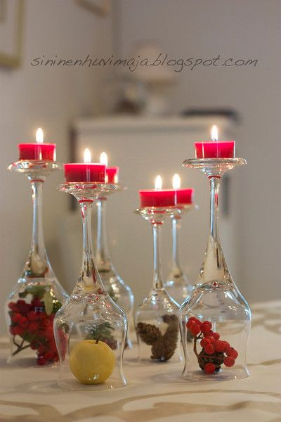 tea light candles with party theme under glass lobe