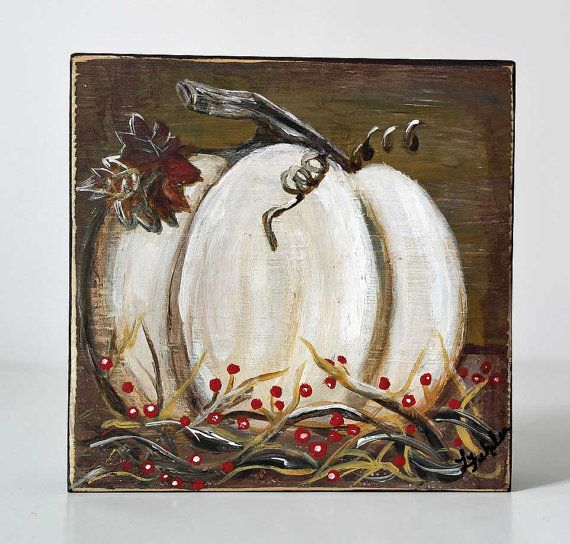 Primitive Art Autumn Decor Fall Art Shelf Sitter Original Painting on Wood White Pumpkin Paintings Harvest Fall Decor White Pumpkin Decor