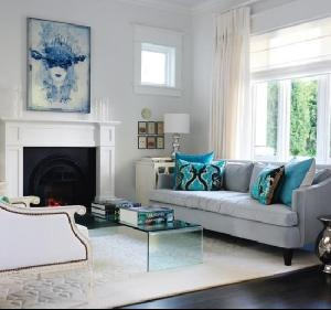 Style At Home March 2010 - Living 1 blue neutral gray sofa, rug, table, ...