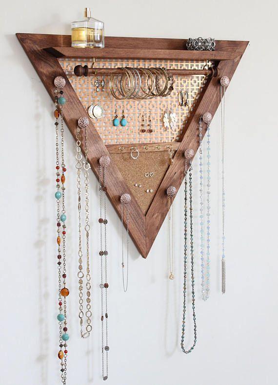 Dreieck-Schmuck-Organisator aus Holz Wandbehang Schmuck