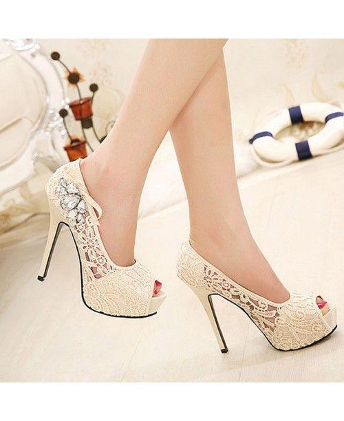 Женские кружевные свадебные туфли на высоком каблуке и с открытым носком