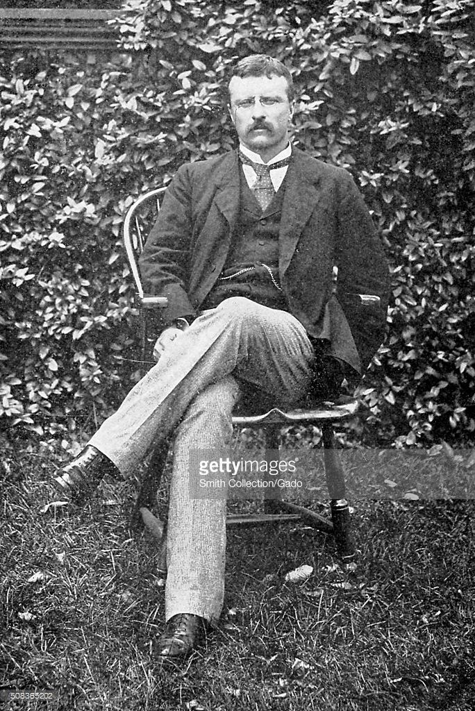"""Theodore Roosevelt in his garden at Oyster Bay, Long Island, c.1885. This location on Long Island, became the American """"summer"""" White House, when President Theodore Roosevelt was in office. ~ {cwlyons} ~ (Image: Smith Collection/Gado/Getty Images)."""