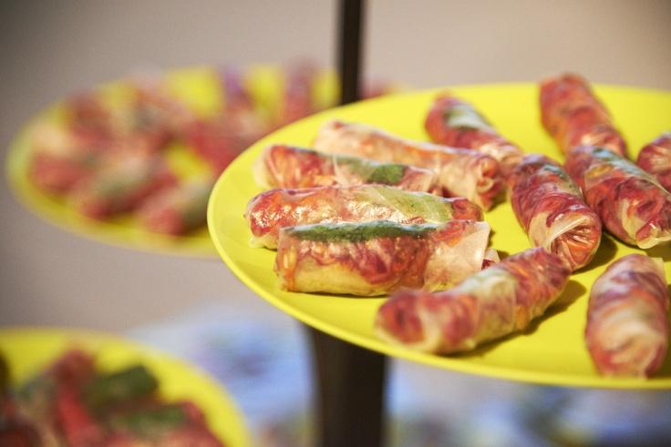 Sauteed Shrimp, Pernod Roasted Red Pepper and Feta Served on an Edible Cone by Viva Tastings @Karen Jacot Viva-Haynes