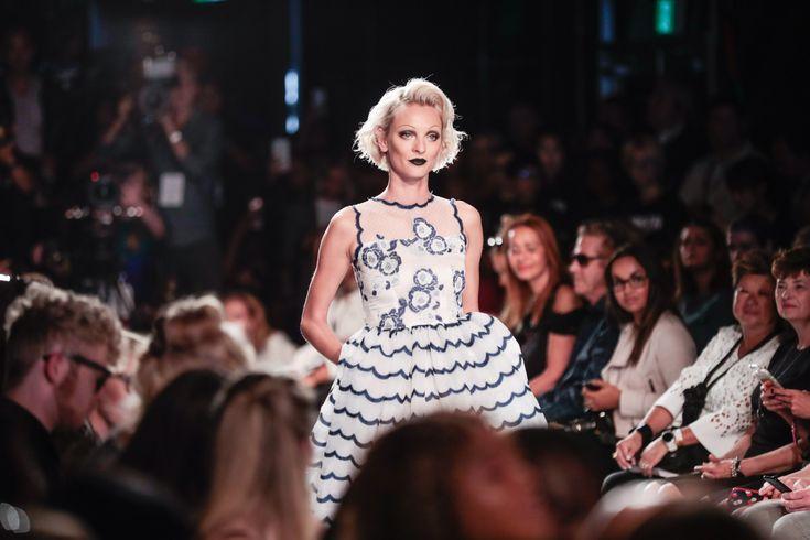 #bts #NARCES #models #fashionshow #evening #bridal #torontofashionweek #littlewhitedress #lace #striped #pockets #floral