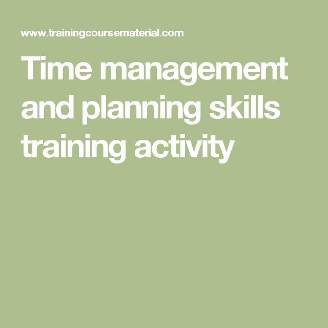 Time management and planning skills training activity