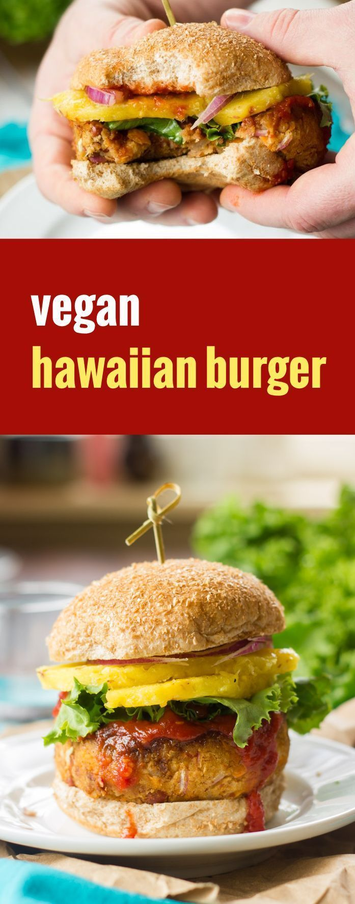 Sweet potato and red bean patties are pan-fried and topped with tangy barbecue sauce and juicy pineapple slabs to create these flavorful and satisfying vegan Hawaiian burgers.