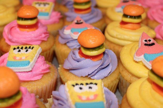 Girly Spongebob Cupcakes with Krabby Patties!