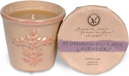 The Votivo St. Germain Lavender Terra Cotta Candle has a fragrance not shared, the softly feminine essence of French pale blue lavender infuses her bath with an innate desire to retreat, submit and relax amid the soothing luxuries of clean white sheets, precious botanical oils and air-whipped silken creams… to sooth her tired soul.