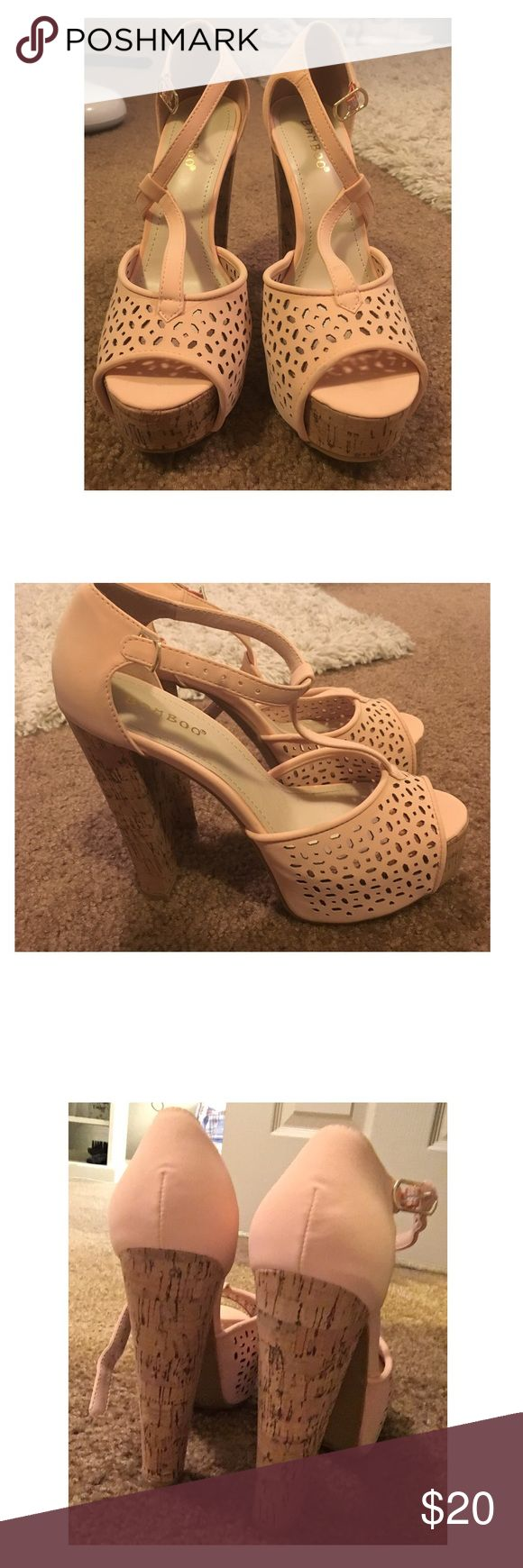 Platform heels Peach heels. Never been worn outside before. Perfect for the spring and summer! bamboo Shoes Heels