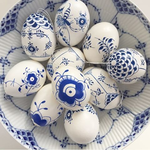 Beautiful blue and white eggs for Easter!