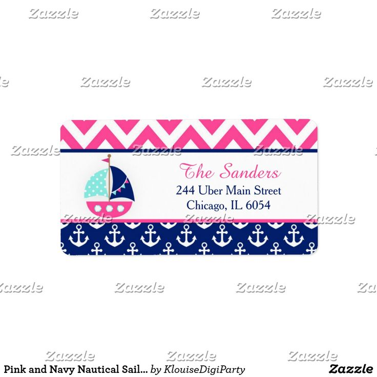Pink and Navy Nautical Sailboat Baby Shower Label