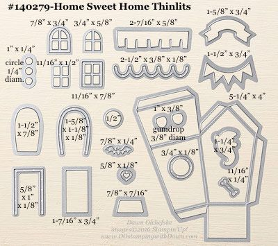 Home Sweet Home Thinlits sizes shared by Dawn Olchefske #dostamping #stampinup