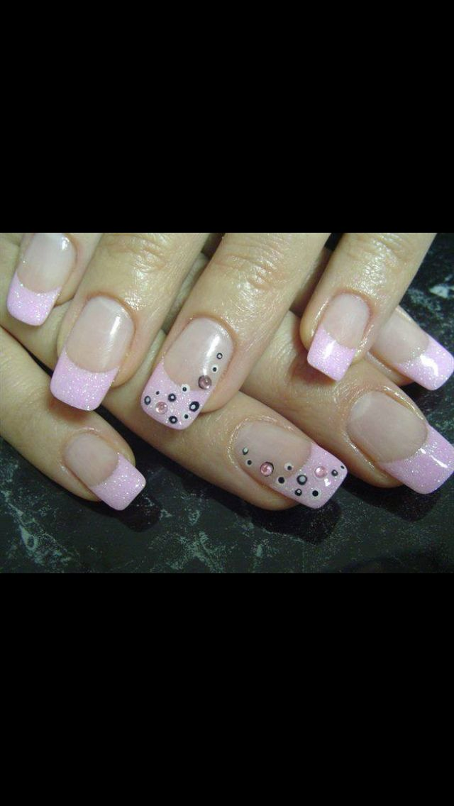 Pink French with accent nail