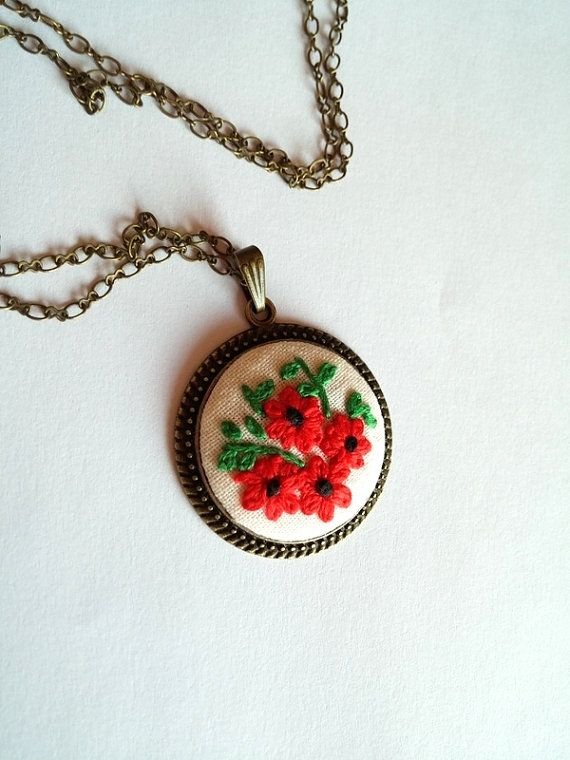 Red Flower Bouquet Necklace Embroidered Pendant by RedWorkStitches