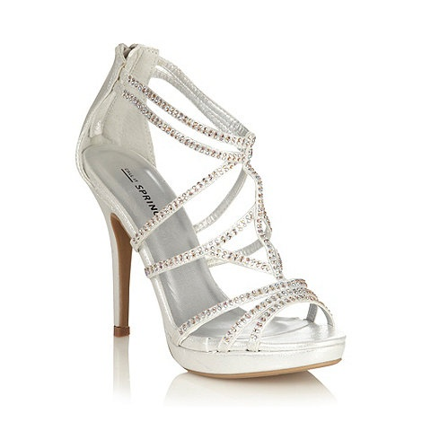 Can't wait for shoe shopping...@Jessica O'Brien @Ashley O'Brien  (Call It Spring Silver High Heeled Open Toed Sandals With Diamante Straps)  something less blingy? or do you like this style?