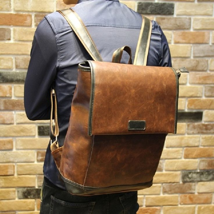 42.68$  Buy here - http://alidfk.shopchina.info/1/go.php?t=32724412826 - Good Leather Laptop Backpack for Macbook 13 Inch Men's Vintage 14 Inch Notebook Computer Bag for Students Leather Backpack  #buychinaproducts