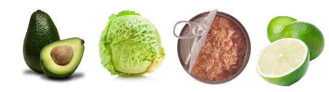 Salade met witte kool, avocado en tonijn