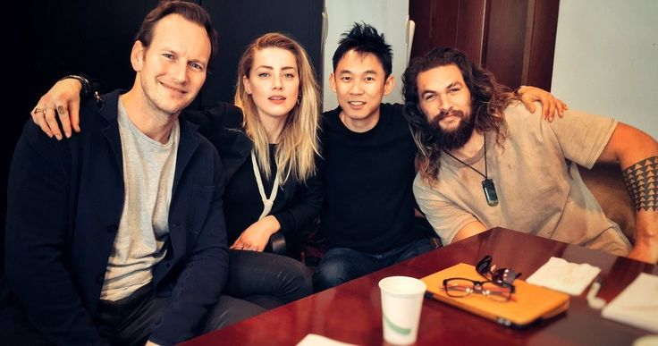 Aquaman Cast Unites for First Time in Table Read Photo -- Director James Wan joins Aquaman stars Jason Momoa, Amber Heard and Patrick Wilson for the first table read. -- http://movieweb.com/aquaman-movie-cast-photo-table-read/