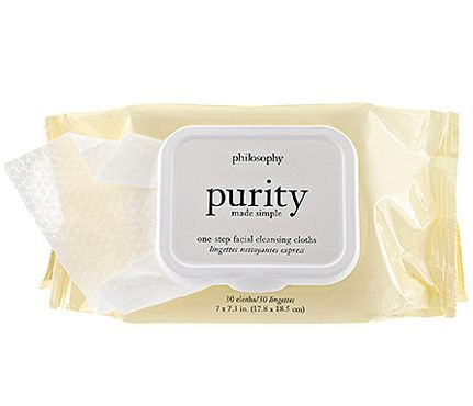 Post-Workout Pretty: Oil residue left behind in the morning may make for a breakout or two come noon. So, throw a pack of cleansing towelettes that have built-in hydrators (try Philosophy Purity Made Simple One-Step Facial Cleansing Cloths, $15) in your bag so you can soften and cleanse skin all at once. #SelfMagazine