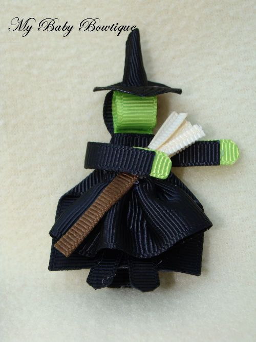 Girls Halloween Hair Clip -  Fall Hair Bow Clippy - Witches Hair Clip