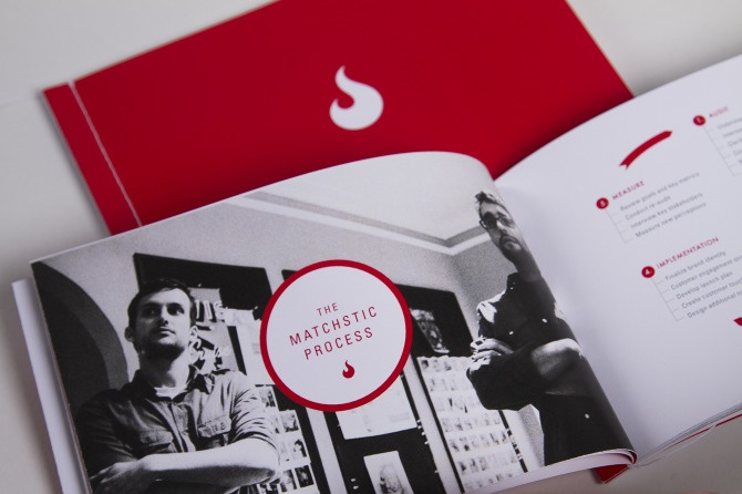 Matchstic Brochure designed by Renèe A. Dunn. This brochure contains portfolio showcases of a design studio. I really like the contemporary look this brochure has and its simple yet effective grid. There is a lot of white space which gives a nice breathing room, however, photos with full-bleed make nice contributes to a great variety in the brochure. The brochure was hand-stitched for a customized touch.