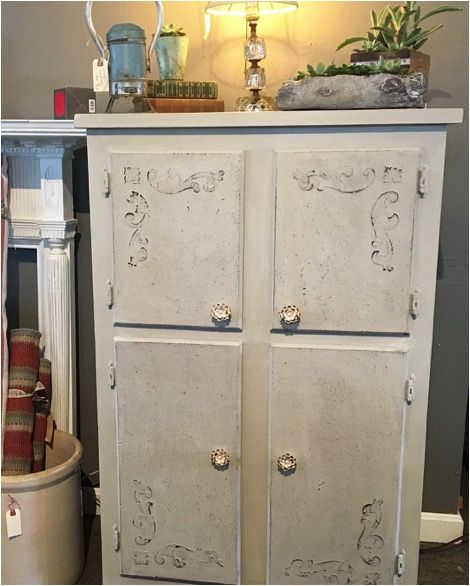 Would you believe this cabinet was a bright lime green before?!  Step by step tutorial using Maison Blanche Furniture Paint in Mushroom, Glacage, Clear Wax, and stencils!