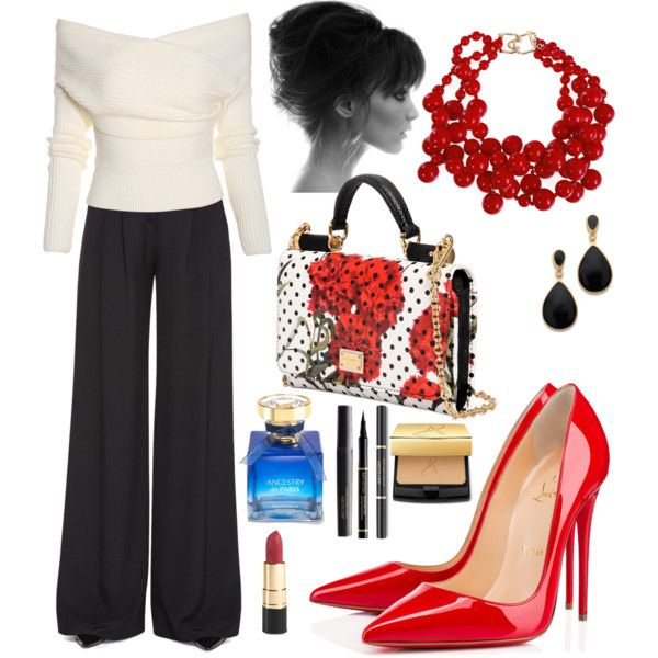 Office: Black, Red & White by veradediamant on Polyvore featuring polyvore, moda, style, Carolina Herrera, Christian Louboutin, Dolce&Gabbana, Kenneth Jay Lane and Ray-Ban