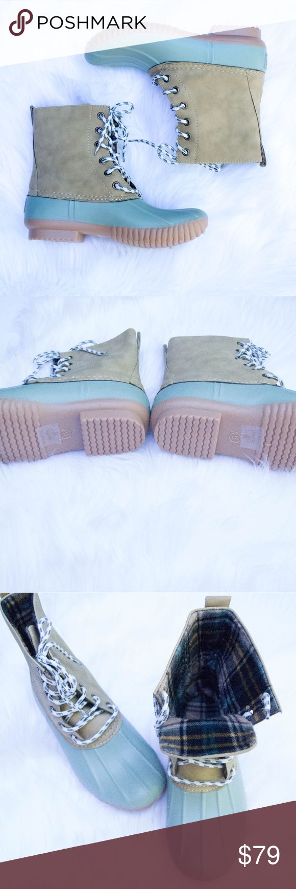 🆕 Sage Duck Boots This listing is for sage. These are selling like crazy for fall 🍁🍁🍁 $79 each or $130 for 2 pairs. Other colors available 😍 Select lining in each boot to keep you comfy. Stitched synthetic rubber sole for durability and grip 😊 Price FIRM unless bundled. Kyoot Klothing Shoes Winter & Rain Boots