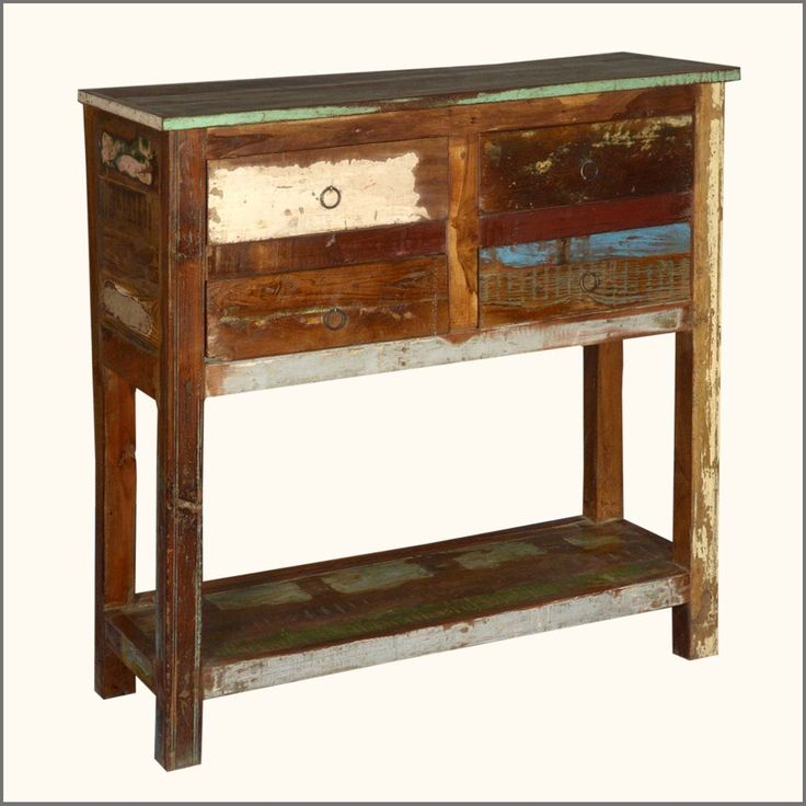 2 Tier Reclaimed Wood Console Table With 4 Drawers