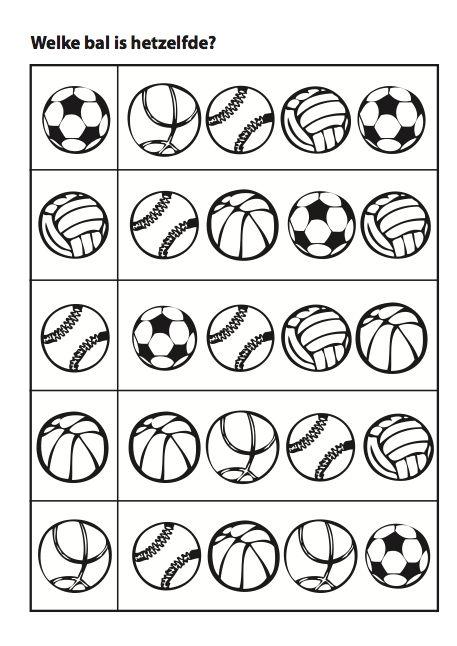 Werkblad: visuele discriminatie : Welke bal is hetzelfde?