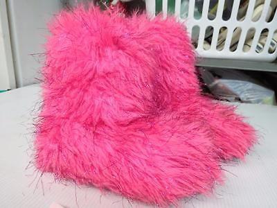 JUSTICIA-Girls-Fuzzy-caliente-rosado-botas-zapatillas-Houseshoes-SZ-2-3-pequeña-6333