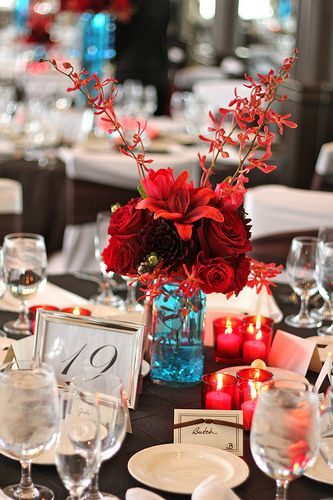 Wedding centerpiece with red flowers & teal water. Smaller candles around or two cases with floating candles