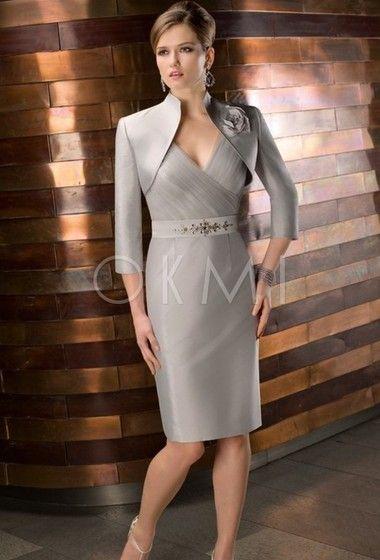 grande immagine  Vestido mae da noiva tafeta com Perolização Sem mangas Corpete plissado