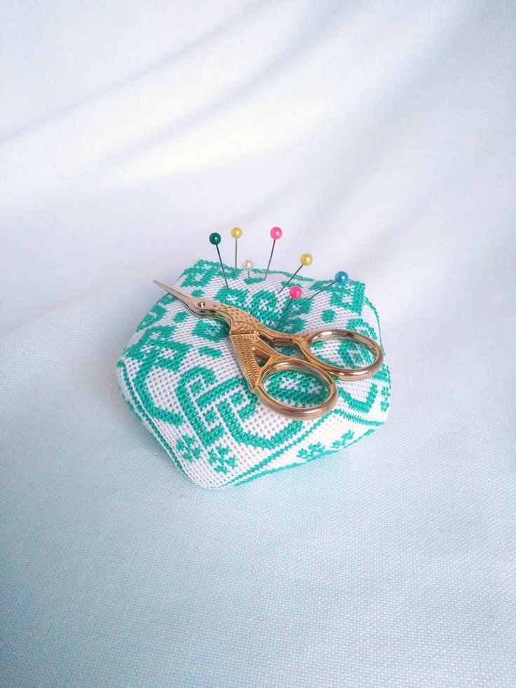 Pincushion  Biscornu Pin cushion Craft room decor  Seamstress gift Sewing room decor Hand embroidery gift  Pin holder  Needle holder  Embroidered pillow  Small pillow  Cross stitch  Pinkeep  Embroidery biscornu  Sewing gift  Sewing accessory  Decorative pillow  Embroidered gift