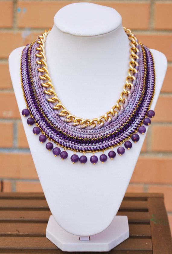 Purple Crochet necklace gold chain necklace with beads by kolibry, €45.00