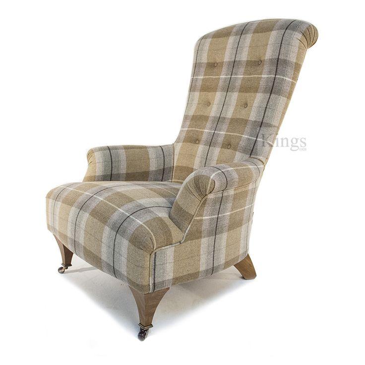 #Johnsankey #Upholstery Hawthorne Chair in #wool Plaid http://www.kingsinteriors.co.uk/