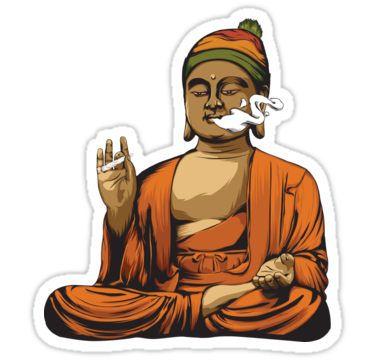 Buddha Smoking a Blunt Stickers