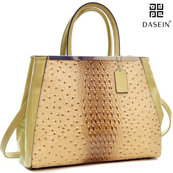 de9f940b67ebb4 New Dasein Women Handbag Ostrich Faux Leather Satchels Tote Shoulder Day Bag  Tan