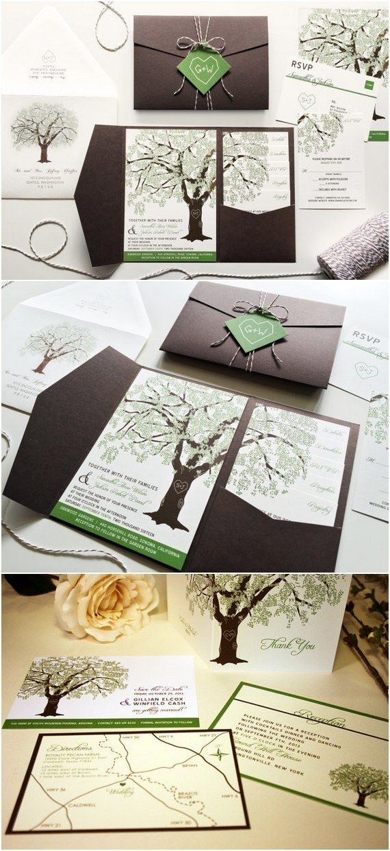 Grandfather Oak Tree Wedding Invitations / http://www.deerpearlflowers.com/rustic-wedding-invitations-from-etsy/
