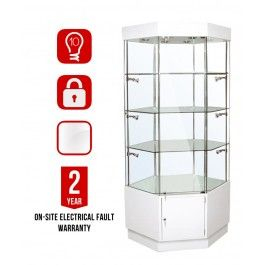 "<div class=""collapsible""><p class=""bullet-title heading"">10 Adjustable Halogen Lights included in the Price</p><div class= ""block-content""style=""display: block;""><ul class=""bullet""><li>This cabinet comes with 10 Adjustable Halogen spotlights located at each corner of the display area. Can Be Upgraded to LED.  </li></ul></div></div><div class=""collapsible""><p class=""bullet-title heading"">Frameless Glass Display area.<br>Made with Tempered glass panels</p><div class…"